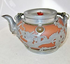 7 5 Old Chinese Yixing Clay Teapot W Partial Pewter Covering Of Dragons