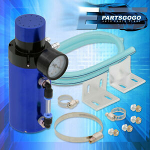 For Ford Aluminum High Performance Racing Oil Catch Can Tank Breather Gauge Blue