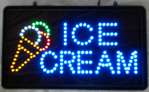 Led Ice Cream Sign With Cone