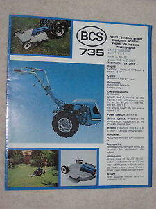 1970 s Bcs 735 Garden Tiller Tractor And Attachments 8 Page Brochure Mint