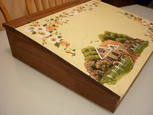 Vintage Children Play Toy School Desk Solid Wood Hand Painted Signed Dated