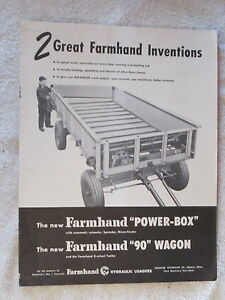 1950 s Farmhand Power box Farmhand 90 Wagon 12 Page Brochure