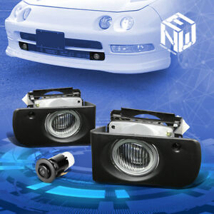 For 94 97 Acura Integra Clear Lens Front Driving Fog Lights W Bezel Bulbs Switch