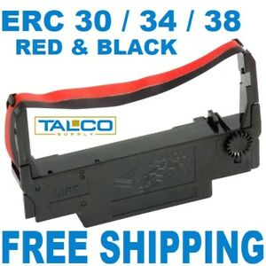 72 Epson Erc 30 34 38 Black Red Ink Printer Ribbons free Shipping