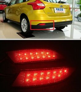 For Ford Focus 2012 2013 Red Lens Led Rear Bumper Reflector Light Lamp