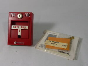 Simplex 2099 Manual Fire Alarm Pull Station With Key Used