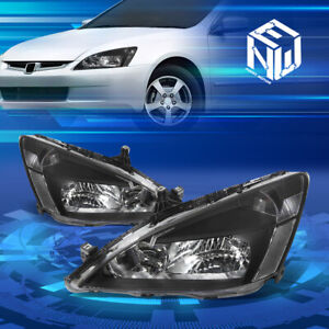 For 03 07 Honda Accord Factory Style Black Clear Corner Headlights Replacement
