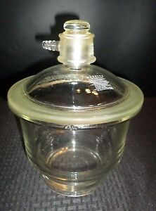 Corning 160mm 6 Pyrex Glass Small Vacuum Desiccator 40 35 Sleeve Chip No Seal