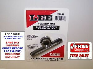 90131 * LEE CASE LENGTH GAUGE & #5 SHELL HOLDER * 7MM REMINGTON MAGNUM * NEW!
