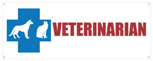Veterinarian Banner Dogs Cats Horses Get Well Animals Retail Store Sign 36x96
