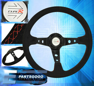 Deep Dish Jdm Steering Wheel Suede Red Stitching 350mm Assembly Unit Chevrolet