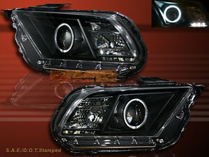 2010 2011 2012 Ford Mustang Ccfl Halo Projector Headlights Black Housing