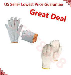 Wholesale 300 Pairs White Poly Cotton String Knit Work Safety Gloves Size M L