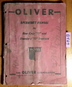 Oliver 77 Row Crop Standard Tractor Owner s Operator s Manual S1 4 m3 1 49