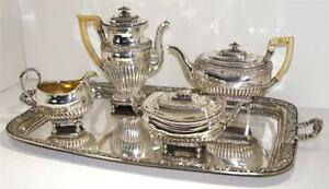 German Seethaler 800 Silver Tea Coffee Pots Creamer Sugar Tray Late18th E 19th