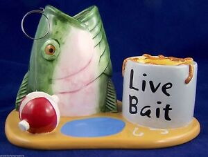Fisherman Office Desk Organizer Fish Fishing Business Card Pencil Pen Holder