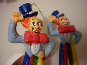Vintage Set 2 Christmas Tree Ornament Clown Blue Early Plastic Hand Painted