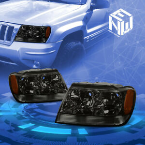Fit 1999 2004 Jeep Grand Cherokee Wj Smoked Amber Corner Housing Headlights