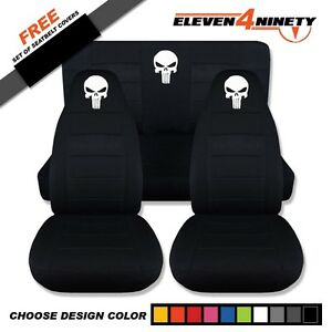1997 2002 Jeep Wrangler Black Seat Covers W Punisher Skull Design 9 Colors