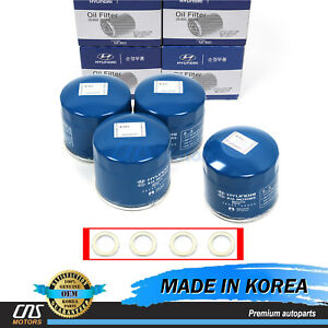 Genuine Oil Filters Washers 4pack For Hyundai Kia 2630035503