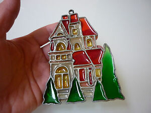 Vintage Christmas Tree Ornament House Scenic Metal Polymer Stained Glass Effect