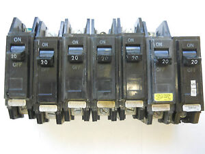 Lot Of 7 General Electric 20 Amp Circuit Breakers 1 Pole