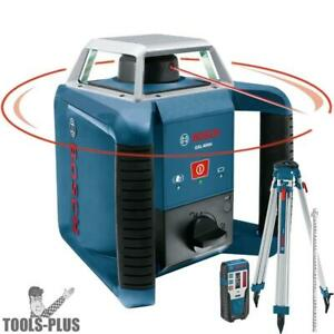 Bosch Tools Self leveling Rotary Laser Plus Complete Exterior Kit Grl400hck New