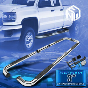 Bully Chrome 3 Oval Side Step Bar Running Board For 99 11 Chevy Ram Gmc Ext Crew