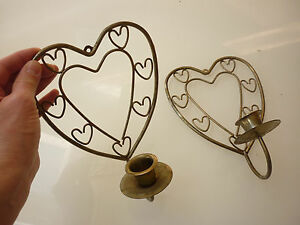 Vintage Set Of 2 Candle Stick Holder Wall Sconce Heart Ornate Metal Wire