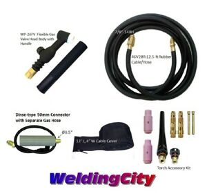 Miller Tig Welding Torch Set 26fv 200a 12 Flex valve Head Air cool Us Seller