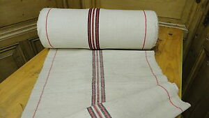 Homespun Linen Hemp Flax Yardage 24 Yards X 21 Black Red Stripes 6418
