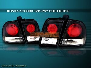 1996 1997 Honda Accord Tail Lights Jdm Black 4 Pieces Dx Ex Lx Se 2