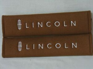 New Brown Seat Belt Cover Shoulder Pad Pair W Embroidery Lincoln Logo