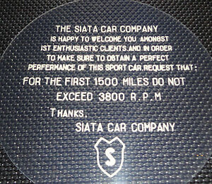 Blank Out Plate For Siata Speedometer