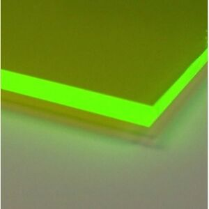 Green Fluorescent Acrylic Plexiglass Sheet 1 8 X 3 X 3 9093 pack Of 4