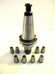 Parlec Cat 40 Taper C40 16er312 Usa Collet Chuck With 8 Er 16 Collets Used