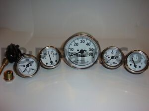 Speedometer Temp Oil Fuel Amp Gauge Kit White For Willys Mb Jeep Ford Cj Gpw