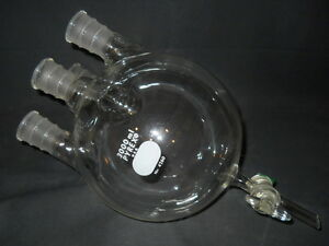 Corning Pyrex 29 42 Joint 4 neck Glass 3l 3000ml Round Flask W 6mm Stopcock