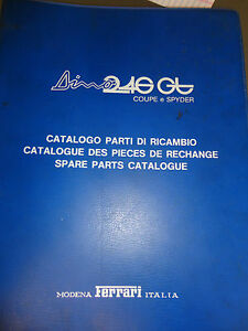 Ferrari Dino 246 Gt 1975 Coupe Spyder Spare Parts Catalogue