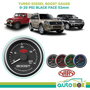 Saas 0 20psi Diesel Turbo Boost Gauge Black Face 52mm 30psi Also Available