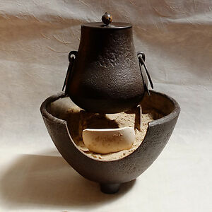 Japanese Cast Metal Kettle And Portable Brazier Furo And Chagama