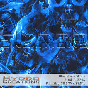 Hydrographic Film Hydro Dipping Water Transfer Blue Flame Skulls 38 5 X 38 5