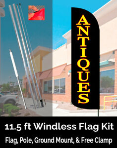 Antiques black Windless Feather Banner Flag Kit flag Pole Ground Mt