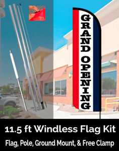Grand Opening Windless Feather Banner Flag Kit flag Pole Ground Mt