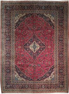 Red Blue 13x10 Authentic Persian Wool Kashan Rug