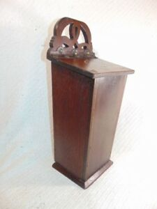 Antique Primitive 19th C Hand Made Inlaid Mahogany Or Walnut Candle Box