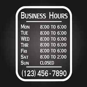 Custom Business Store Hours Vinyl Window Decal 9x12 Sticker Sign Glass Door