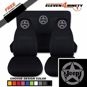 1997 2002 Jeep Wrangler Tj Black Seat Covers Jeep W Star Design Choose Color