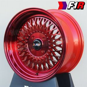 F1r F01 15x8 4x100 Et25 2 75 Machine Lip Candy Red Mesh Tuner 4 Wheels Set