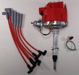 Amc jeep Inline 6 232 258 6 Cylinder Hei Distributor red Plug Wires Usa Cj5 Cj7